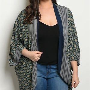 81b6a0c46c Tops - Harper Navy Green Plus Size Kimono